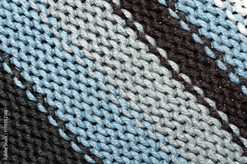 Texture of knitted fabric. Stranded threads. Cloth of warm winter ...