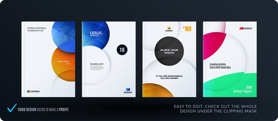 Template. Creative abstract minimal design of brochure set, annual report, horizontal cover