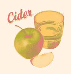 Vector banner for apple cider with a realistic image of an apple, glass of juice and calligraphic inscription