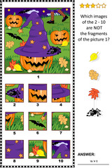 Halloween themed visual puzzle with witch hat, pumpkins and night scene: What of the 2 - 10 are not the fragments of the picture 1? Answer included.