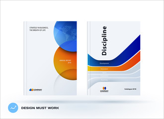 Creative design of orange blue business brochure set, abstract horizontal cover layout, flyer in A4 with colourful circles rounds