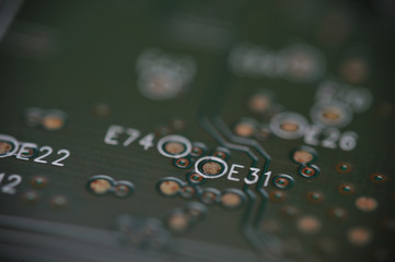 Close up computer electronic circuit board
