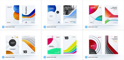 Creative design of business brochure set, abstract horizontal cover layout, flyer in A4 with colourful circles rounds