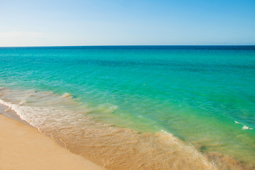 Tourists relax on Varadero sandy beach.Paradise landscape with turquoise sea and white sand. Cuba