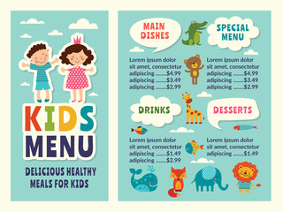 Design template of kids menu with colored funny pictures and place for your text