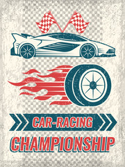Vintage poster with racing cars. Vector template with place for your text