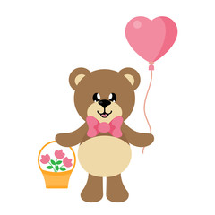 cartoon bear with tie and lovely balloons and basket
