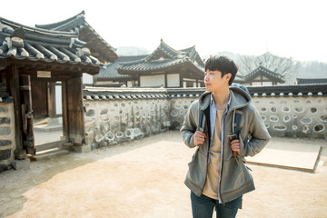 Young man traveling in Korea
