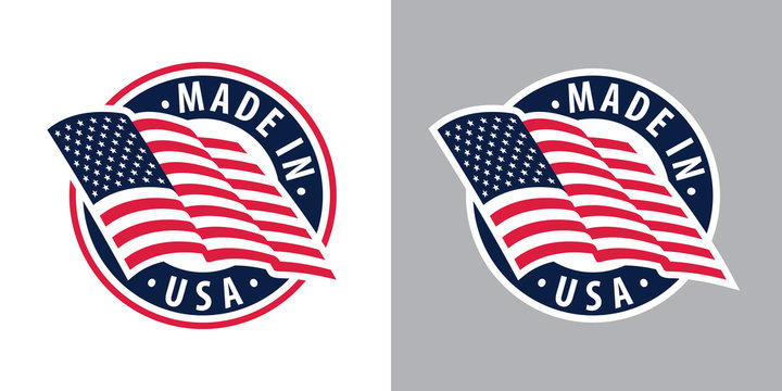Made in USA (United States of America). Composition with American flag for badge, label, pin, etc. Variants for light and dark backgrounds.