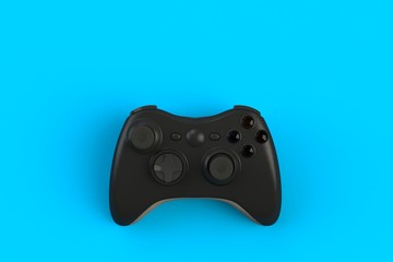 Computer game competition. Gaming concept. Black joystick isolated on blue background, 3D rendering
