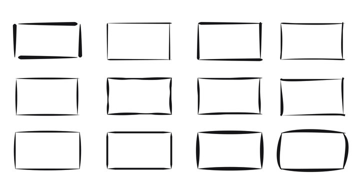 Set of hand drawn rectangle. Text box and frames. Vector illustration.