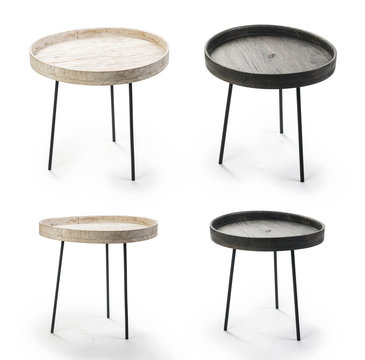 Coffee table set isolated on white, Clipping Path included