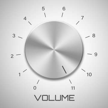 Metal volume control knob that goes to eleven