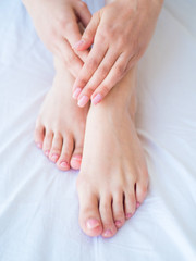 care for beautiful woman body. Female feet and hands