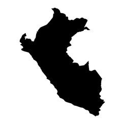 black silhouette country borders map of Peru on white background of vector illustration