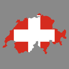 silhouette country borders map of Switzerland on national flag background of vector illustration