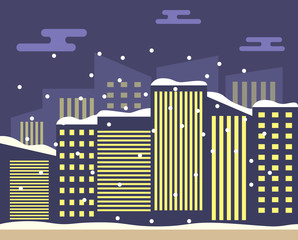 Winter night city landscape snowfall from sky and skyscrapers with roofs in snow.Urban of the building.A concept of design of a banner for the website.In flat vector.Downtown with road and sidewalk.