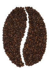 Big coffee bean symbol made of coffee beans on white isolated background.