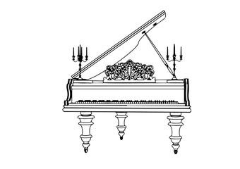 outline piano vector