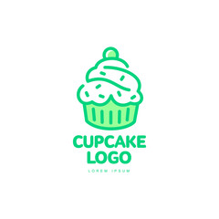 Cupcake sweet dessert food bright line logo icon. Adhesive sticker, label, tag cream pastry decoration element for celebration party design, bakery store. Vector flat style isolated illustration.