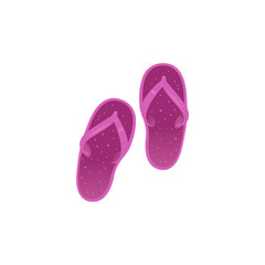 Magenta women slippers isolated on white background. Beach girls flip-flops - element for summer vacation and holiday time banner or card. Cartoon style vector illustration.