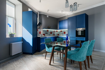 Blue modern kitchen interior design