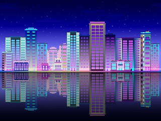 Night city in lights skyline with multistorey buildings standing on river bank and reflection in water. Beautiful luminous town landscape in evening time. Flat vector illustration.