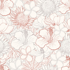 Tropical flowers seamless pattern with white hand drawn exotic blooms of hibiscus, protea, magnolia and plumeria and palm leaves with colorful line contour. Floral vector illustration in sketch style.