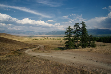 Road through a dry desert steppe on a highland mountain plateau with yellow grass trees with ranges of  hills rocks on a horizon skyline Kurai Altai Mountains Siberia Russia