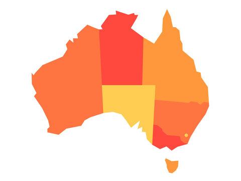 Orange blank map of Australia. Vector illustration