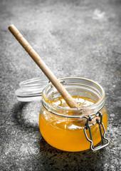 Wall Mural - jar of fresh honey.