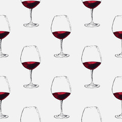 Hand-drawn sketch of wine glass. Seamless glassware background. Glassware pattern.