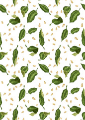 Seamless pattern for textile and print with citrus leaves and seeds in vector illustration
