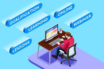Working Online Vector Sitting Man