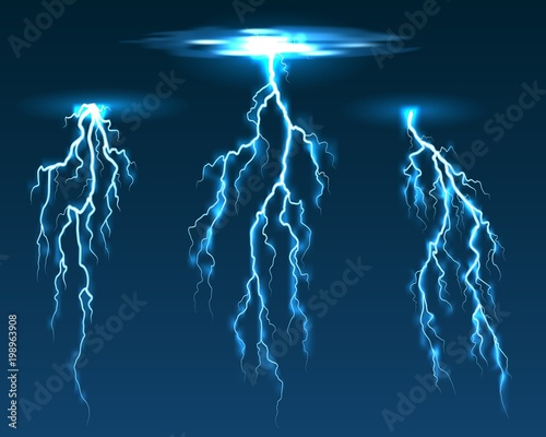 Vector lightning  Electric sparks and thunderbolt electricity