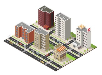 Isometric city town building cartoon facade vector illustration and street.