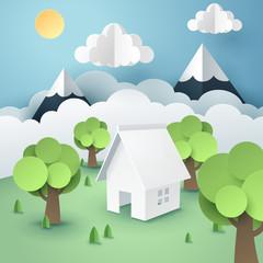 Paper art of tree around house