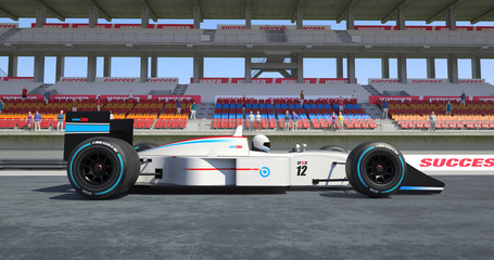 White Racing Car Winning The Race - High Quality 3D Rendering With Environment