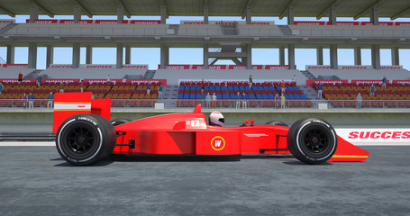 Red Racing Car Winning The Race - High Quality 3D Rendering With Environment