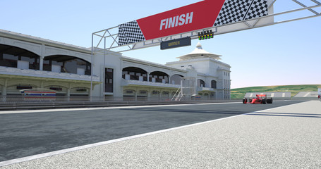 Red Racing Car Crossing Finish Line On Racing Track - High Quality 3D Rendering With Environment
