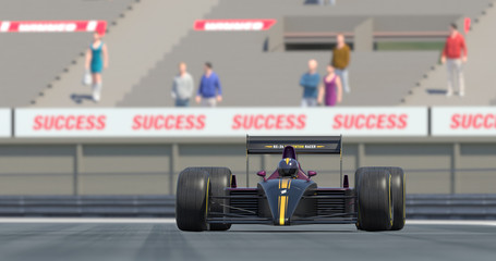Racing Car Crossing Finish Line And Winning The Race - High Quality 3D Rendering With Camera Depth Of Field