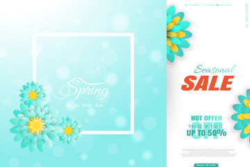 Vector promotional poster of Spring Seasonal Sale on the gradient blue background with white frame, glow and turquoise flowers.