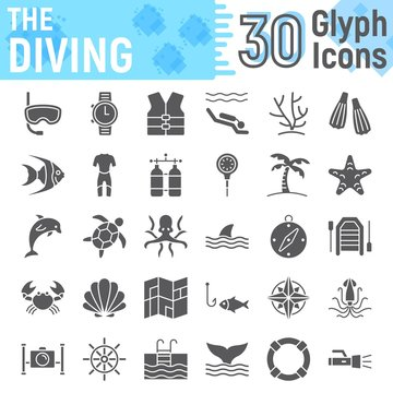 Scuba diving glyph icon set, underwater symbols collection, vector sketches, logo illustrations, sea signs solid pictograms package isolated on white background, eps 10.