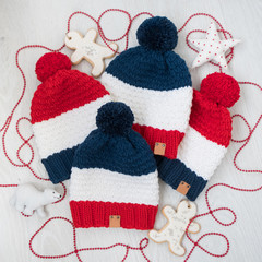 Winter family set hats. Set of clothes and accessories