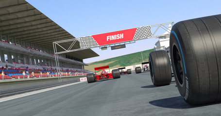 Racing Cars Crossing Finish Line And Winning The Race - High Quality 3D Rendering With Environment
