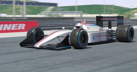 White Racing Car Racing - High Quality 3D Rendering