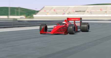 Red Racing Car Racing - High Quality 3D Rendering