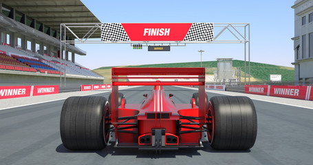 Red Racing Car Crossing Finish Line And Winning The Race - High Quality 3D Rendering