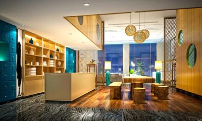 3d render of massage room
