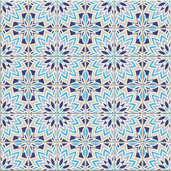 Vector seamless pattern, based on traditional wall and floor tiles Mediterranean style.